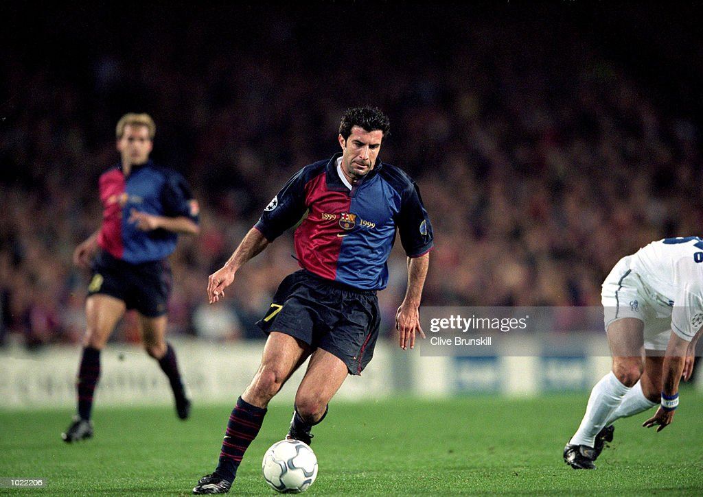 Luis Figo of Barcelona in action during the UEFA Champions League quarter-final second leg against Chelsea at the Nou Camp in Barcelona, Spain. Barcelona won the match 5-1. \ Mandatory Credit: Clive Brunskill /Allsport