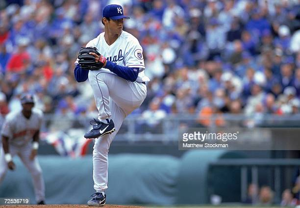 Mac Suzuki of the Kansas City Royals winds back to pitch the ball during the game against the Minnesota Twins at Kauffman Stadium in Kansas City...