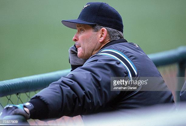 Manager John Boles of the Florida Marlins looking on during the game against the Chicago Cubs at Wrigley Field in Chicago Illinois The Marlins...