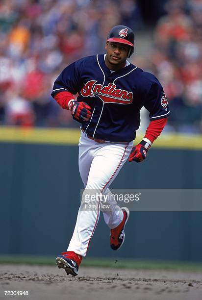 Manny Ramirez of the Cleveland Indians in action against the Texas Rangers at Jacobs Field in Cleveland, Ohio. The Indians defeated the Rangers 2-1....