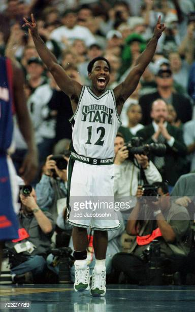 Mateen Cleaves of Michigan State celebrates during the final round of the NCAA Men''s Final Four against Florida at the RCA Dome in Indianapolis,...