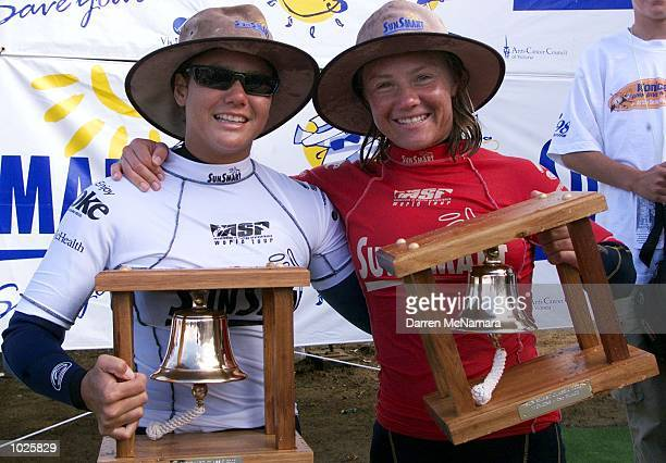 Megan Abubo from Hawaii and Rochelle Ballard from Hawaii with there trophys from the Rip Curl Pro 2000 held at Bells Beach Victoria Australia DIGITAL...
