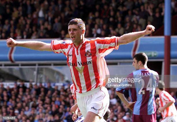 Niall Quinn of Sunderland celebrates scoring the equalizer during the FA Carling Premiership match between Aston Villa and Sunderland at Villa Park,...