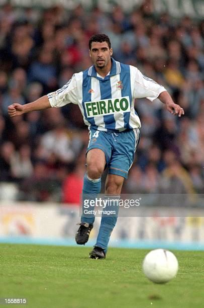 Noureddine Naybet of Deportivo La Coruna in action during the Spanish Primera Liga match against Celta Vigo at the Estadio Balaidos Vigo Spain Photo...