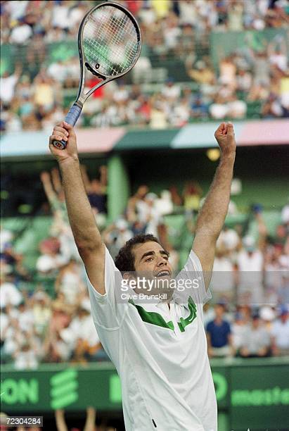 Pete Sampras celebrates his win over Gustavo Kuerten of Brazil during the finals of the Ericsson Open at the The Tennis Center as Crandal Park on Key...