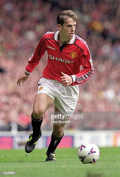 Phil Neville of Manchester United in action during the FA Carling Premiership game between Manchester United and Chelsea at Old Trafford in...