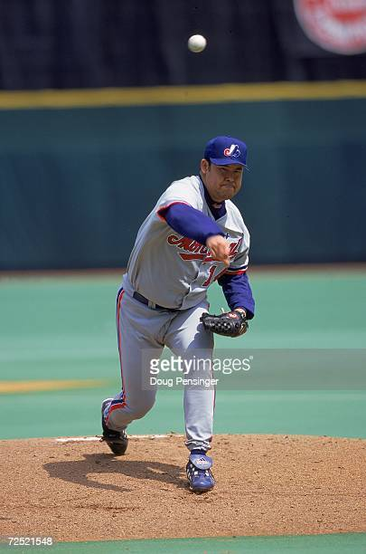 Pitcher Hideki Irabu of the Montreal Expos pitches the ball during the game against the Philadelphia Phillies at Veterans Stadium in Philadelphia...