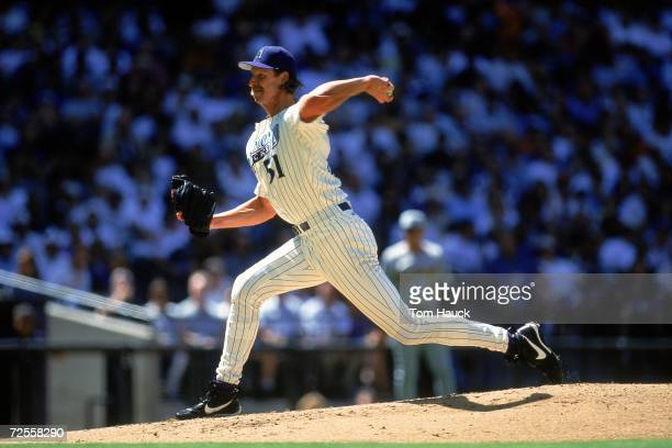 Pitcher Randy Johnson of the Arizona Diamondbacks winds up for the pitch during the game against the Pittsburgh Pirates at the Bank One Ballpark in...