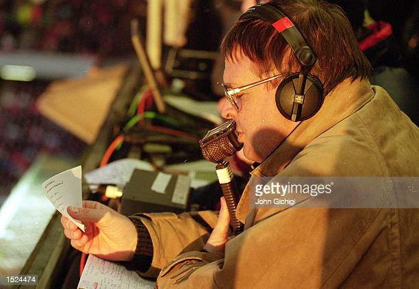 Radio Five commentator Alan Green at work Mandatory Credit John Gichigi/Allsport