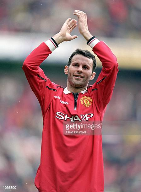 Ryan Giggs of Manchester United shows his appreciation to the crowd during the FA Carling Premiership game between Manchester United and Chelsea at...