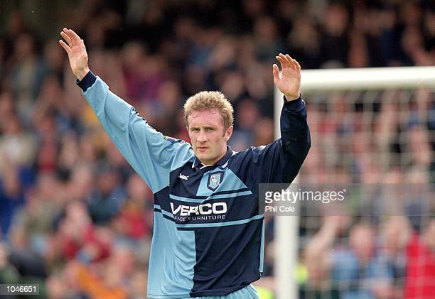 Sean Devine of Wycombe Wanderers celebrates during the Nationwide League Division Two game between Wycombe Wanderers and Notts County at Adams Park...