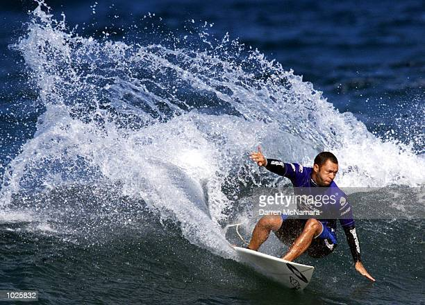 Surfing legend Sunny Garcia from Hawaii competes in the 'Mitchell Surfing Foundation Expression Session' at the Rip Curl Pro 2000 held at Bells Beach...