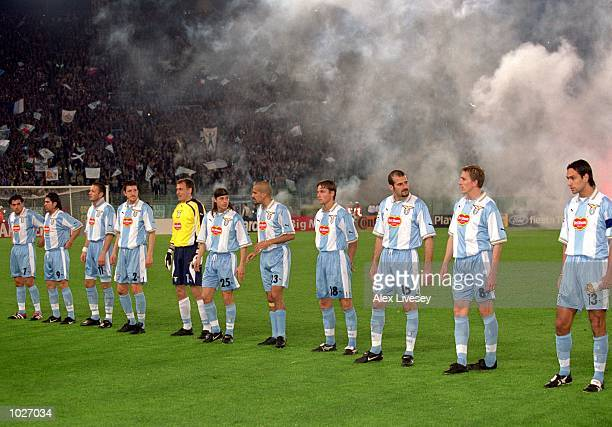 The Lazio team line up before the UEFA Champions League quarter-final second leg against Valencia at the Stadio Olympico in Rome, Italy. Lazio won...