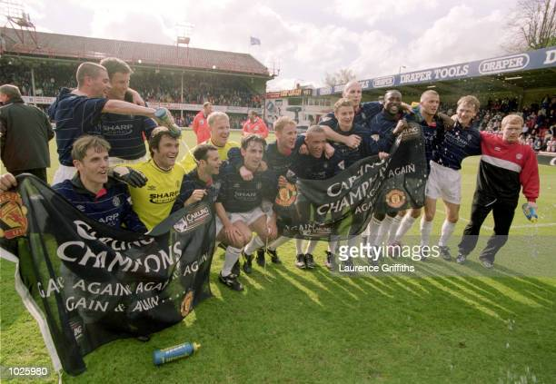 The Manchester United players celebrate after the FA Carling Premier League match against Southampton played at The Dell in Southampton Manchester...