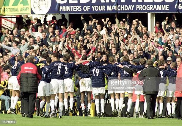 The Manchester United players celebrates after the FA Carling Premier League match against Southampton played at The Dell in Southampton Manchester...