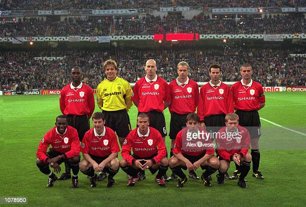 The Manchester United Team during the UEFA Champions League game between Real Madrid and Manchester United at the Bernabeu stadium in Madrid Spain...