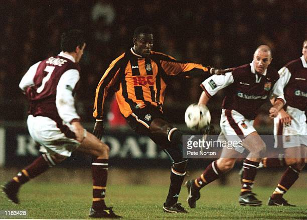 Theodore Whitmore of Hull City in action during the Nationwide League Division Three match against Northampton Town at the Sixfields Stadium in...