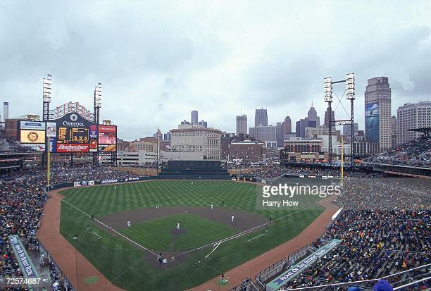 This is a general view of Comerica Park during the first game between the Detroit Tigers and the Seattle Mariners in Detroit Michigan The Tigers...