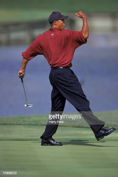 Tiger Woods celebrates after putting the ball during the Players Championship TPC at Sawgrass in Point Vedra Beach, Florida.