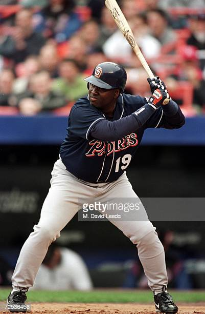 Tony Gwynn of the San Diego Padres at bat during the game against the New York Mets at Shea Stadium in Flushing New York The Mets defeated the Padres...