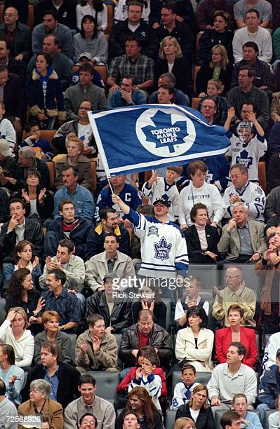Toronto Maple Leaf fans cheers on their team during round two of the NHL Eastern Conference semifinals against the New Jersey Devils at the Air...