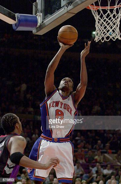 8Latrell Sprewell of the New York Knicks during game 1 of round one in the NBA Playoffs at Madison Square Garden in New York New York The Knicks...