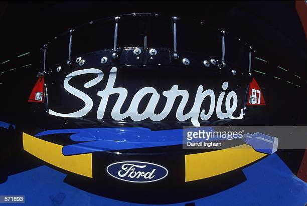 A close up of the Sharpie Logo on the Roush Racing Rubbermaid/Sharpie Ford Taurus car driven by Kurt Busch for Roush Racing during the Talladega 500...