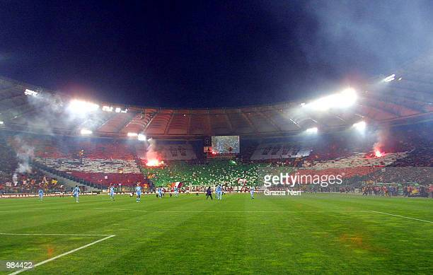 A general view during the Serie A 28th Round League match between Roma and Lazio played at the Olympic Stadium Rome Digital Image Mandatory Credit...