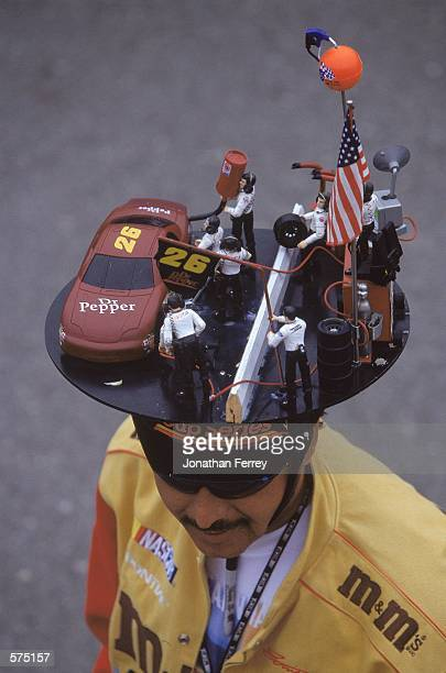 A general view of a fan of the NASCAR Racing circuit wearing his NASCAR hat during the Napa 500 part of the NASCAR Winston Cup Series at the...