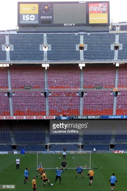 A general view of Liverpool training ahead of the UEFA Cup Semi Final at the Nou Camp stadium in Barcelona Mandatory Credit Laurence...