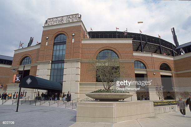 A general view of Oriole Park at Camden Yards in Baltimore Maryland from the exterior during the game between the Baltimore Orioles and Boston Red...