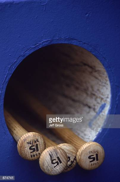 A general view of some bats in a cubbyhole during the game between the Los Angeles Dodgers and the Arizona Diamondbacks at Dodger Stadium in Los...