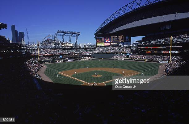 A shot of SAFECO Field during the game between the Oakland Athletics and the Seattle Mariners in Seattle Washington The Mariners defeated the A's...