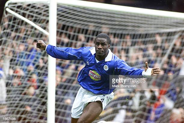 Ade Akinbiyi of Leicester celebrates scoring during the Leicester City v Coventry City FA Carling Premier League game between Leicester City v...