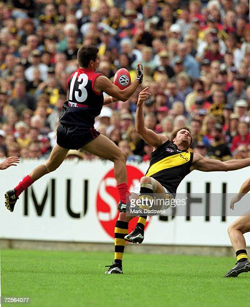 Adem Yze of Melbourne and Matt Richardson of Richmond in action during the AFL round 1 match played between the Melbourne Demons and the Richmond...