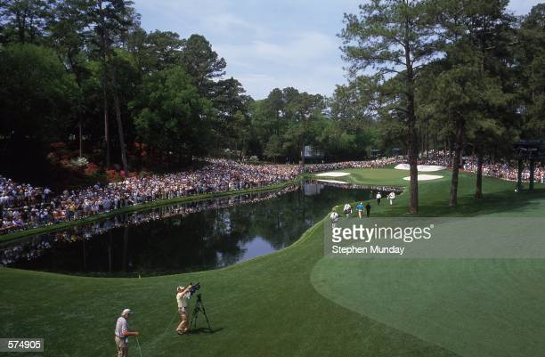An aerial view of the 16th hole at The Masters Tournament at the Augusta National Golf Club in Augusta Georgia NOTE TO USER It is expressly...