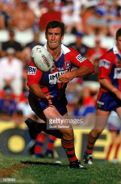 Andrew Johns of the Newcastle Knights in action during round 9 of the National Rugby League match played between the Newcastle Knights and the Sharks...