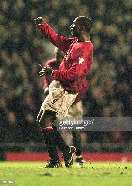 Andy Cole of Manchester United celebrates his goal during the FA Carling Premiership match against Charlton Athletic played at Old Trafford in...