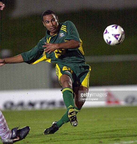 Archie Thompson of the Socceroos scores another goal against American Samoa for a world record of 14 goals in one match during the Oceania group one...