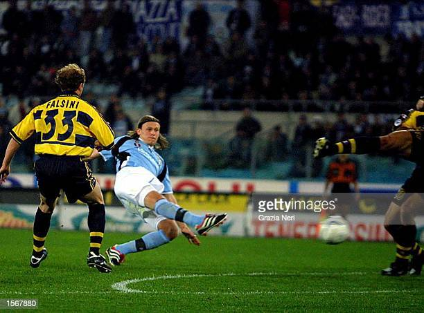 Baronio of Lazio and Gianluca Falsini of Parma in action during the Serie A 25th Round League match between Lazio and Parma played at the Olympic...