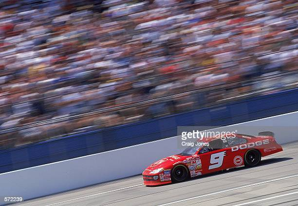 Bill Elliott who drives the Dodge Intrepid for Evernham Motorsports speeds down the track during the Talladega 500 presented by NAPA part of the...