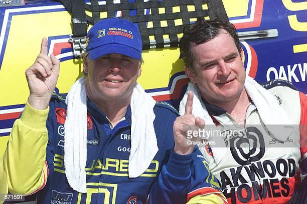 Bobby Hamilton driving the Square D Chevrolet with teammate Joe Nemechek after winning the NASCAR Winston Cup Talladega 500 at the Talladega Super...