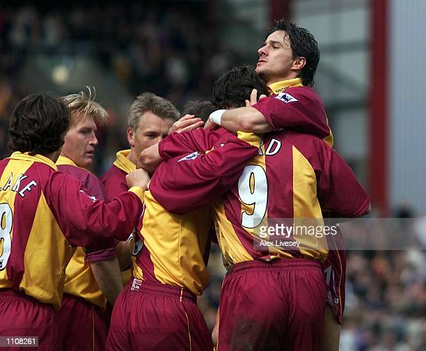 Bradford team celebrate Ashley Ward's goal during the FA Carling Premier League match between Bradford City v Derby County at Valley Parade Bradford...