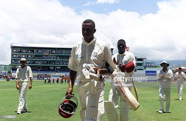 Courtney Walsh walks off in his last test after batting for the West Indies during the 5th Test played between South Africa and theWest Indies at...