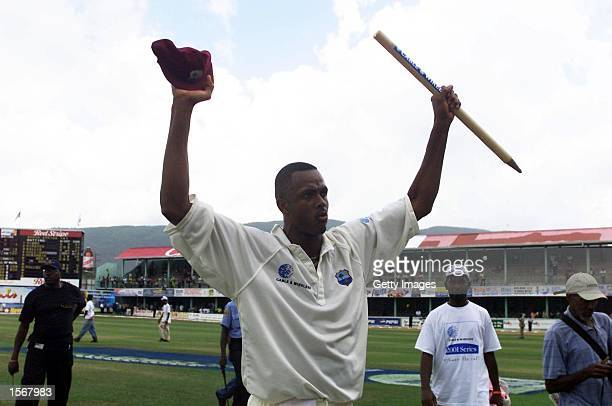 Courtney Walsh waves goodbye to the crowd after his final Test Match in the fifth test between West Indies v South Africa at Sabina Park in Kingston...