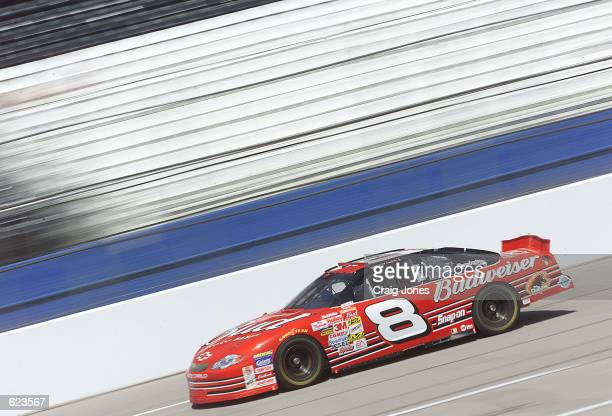 Dale Earnhardt Jr in the Budweiser Chevrolet during practice for the NASCAR Winston Cup Talladega 500 at the Talladega Super Speedway Talladega...