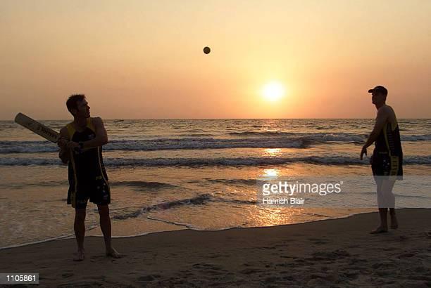 Damien Martyn and Nathan Bracken of Australia play cricket on the beach at the Taj Exotica Hotel Goa India X DIGITAL IMAGE Mandatory Credit Hamish...