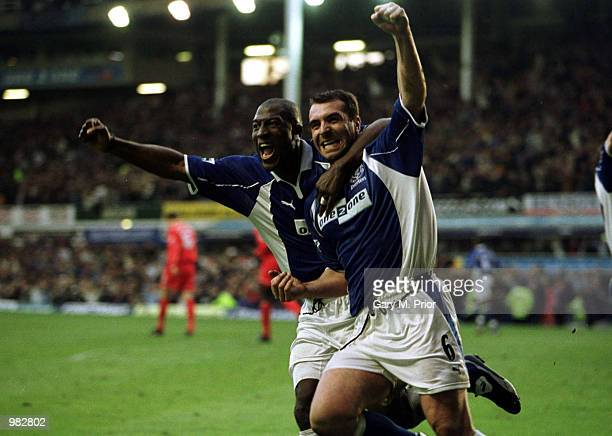 David Unsworth of Everton celebrates after scoring with a penalty during the Everton v Liverpool FA Carling Premiership match at Goodison Park...