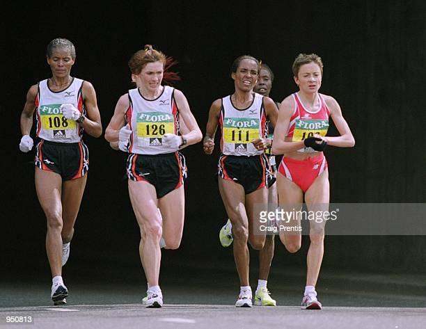 Derartu Tulu of Ethiopia on her way to winning the women's race during the 2001 Flora London Marathon in England Mandatory Credit Craig Prentis...
