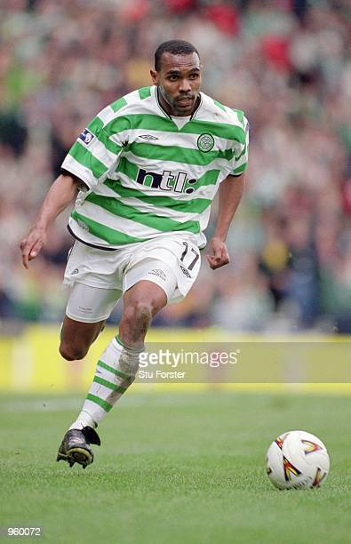 Didier Agathe of Celtic runs with the ball during the Tennants Scottish Cup Semifinal between Celtic and Dundee United played at Hampden Park Glasgow...